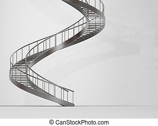Long spiral stairs - 3d rendered image of long spiral stairs...
