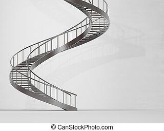 long, spirale, escalier