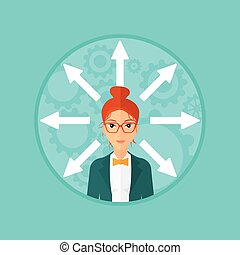 Woman choosing way. - A woman with many arrows around her...