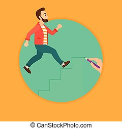 Man running upstairs. - A hipster man with the beard running...