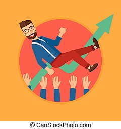 Successful businessman during celebration. - A businessman...