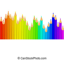 rainbow bright pencils - Row of rainbow bright pencils with...
