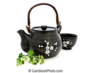 tea set with greens over the white background