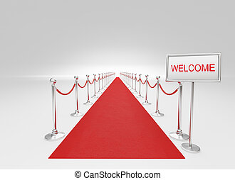 Red carpet and barrier rope - 3d rendered, red carpet and...