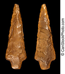 Flint Arrowhead - Front and Back - Macro photography of a...