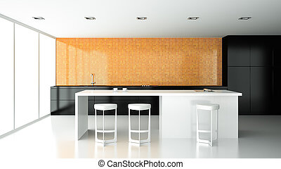 Interior of the modern design kitchen  3D rendering