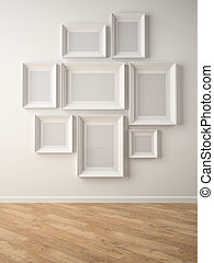 Part of interior with white frames on the wall 3D rendering