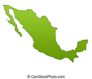 Mexico map in gradient green, isolated on white background