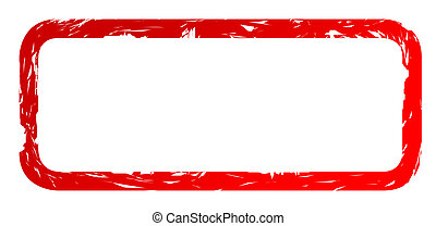 Used red stamp isolated on white background with copy space.