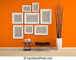 Part of interior with frames on the orange wall 3D rendering