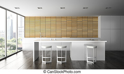 Interior of the modern design  kitchen 3D rendering 2