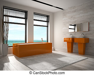 Interior of modern bathroom 3D rendering