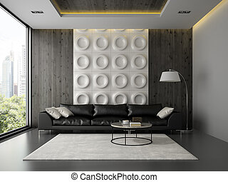 Interior of living room with black couch 3D rendering