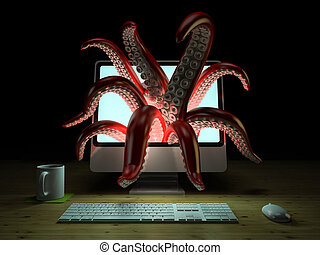Red tentacles getting out of the computer monitor 3D rendering