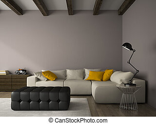 Interior of modern design room with white couch 3D rendering