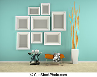 Part of interior with frames on the wall 3D rendering