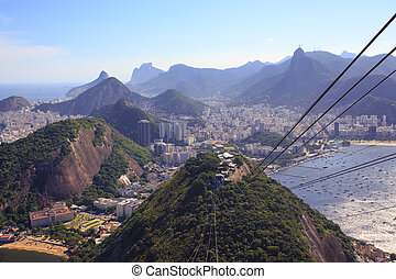 ropes of cable car at Sugar Loaf station - view from cable...