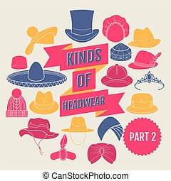 Kinds of headwear. Part 2. Flat icons