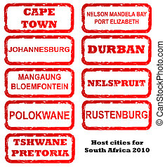 South Africa host city stamps