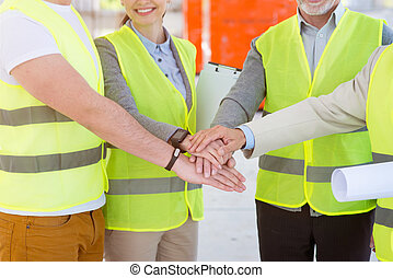 Construction project team Building industry - All for one,...