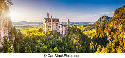 World-famous Neuschwanstein Castle in beautiful evening...
