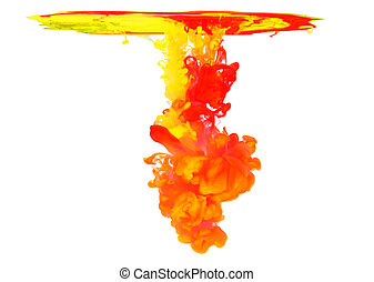 Colored ink in water creating abstract shape, isolated on...