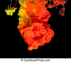 Colored ink in water creating abstract shape - Mix of...