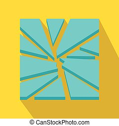 Broken glass icon, flat style - Broken glass icon in flat...