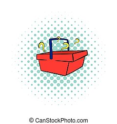 Question in shopping basket icon, comics style