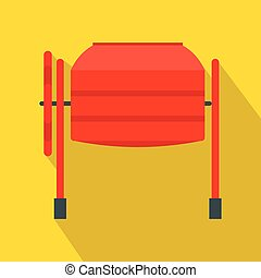 Concrete mixer icon in flat style on a yellow background