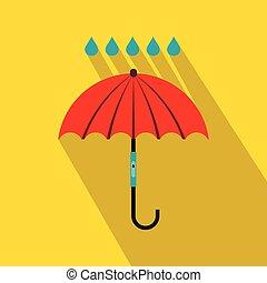 Red umbrella and rain drops icon, flat style - Red umbrella...