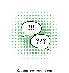 Question and exclamation marks icon, comics style