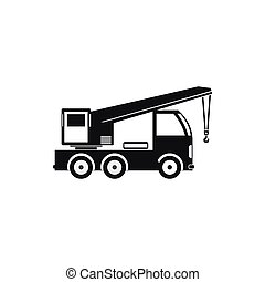 Truck mounted crane icon, simple style - Truck mounted crane...