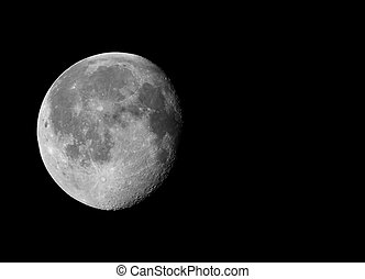 Waning gibbous moon with copy space - Waning gibbous moon,...