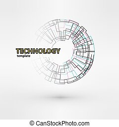 Wireframe mesh polygonal logo element. Torus with connected...