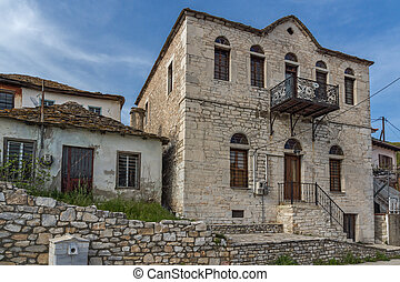 Village of Theologos, Thassos - Panoramic view with old...