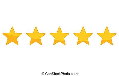 cinco, avaliação,  zero, estrela, cima