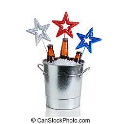 fundo, balde, gelo, Cerveja, estrelas, gelado, feriado,...