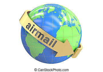 Global Airmail concept, 3D rendering isolated on white...
