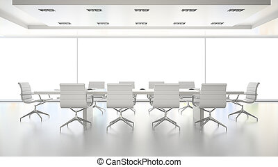 Interior of  clean white boardroom 3D rendering
