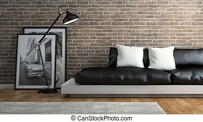Part of  interior with brick wall and black sofa 3D rendering 3