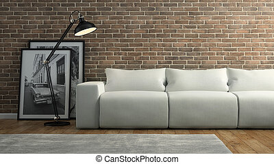 Part of  interior with brick wall and white sofa 3D rendering 2