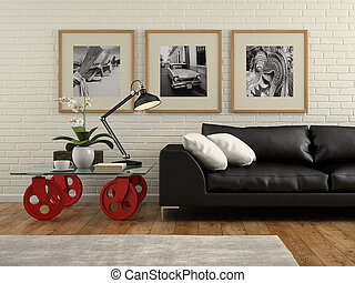 Part of  interior with white brick wall 3D rendering