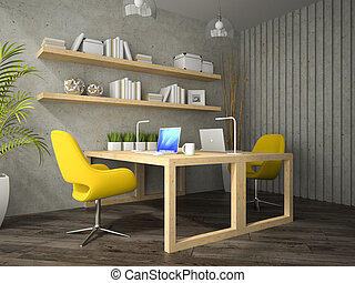 Interior of modern  design office with two table 3D rendering