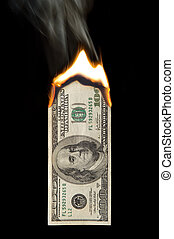 100 Dollar Bill On Fire - Image of a one hundred dollar bill...