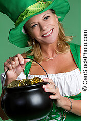 St Patricks Day Woman - St patricks day woman holding gold