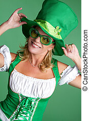 Saint Patricks Day Woman - Beautiful smiling saint patricks...