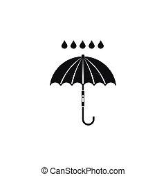 Umbrella and rain drops icon, simple style - Umbrella and...
