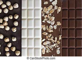 Close up of high quality handmade chocolate bars - Four...