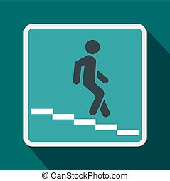 Underpass road sign icon, flat style - Underpass road sign...